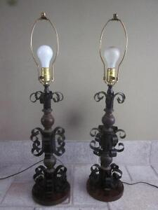 Vintage Gothic Style Wrought Iron Black Metal TABLE LAMP Cambridge Kitchener Area image 5