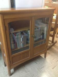 Blond Solid Oak Bookcase Cabinet
