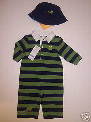 NWT Gymboree Rainy Day Fun Frog Rugby Romper & Hat 3-6 Rainy Day Frogs
