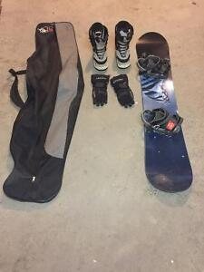 Snowboard with boots, bindings, bag and gloves