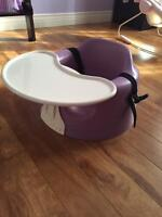 Purple Bumbo Chair with straps and tray