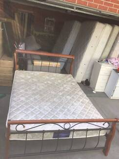 Nice wooden metal queen size bed with mattress , can delivery at
