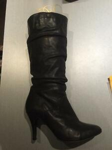 Black Leather heeled boots, 3 other pairs of shoes size 7-9