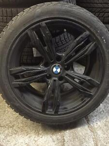 (4) BLACK STYLISH RIMS WITH WINTER TIRES BMW 550i