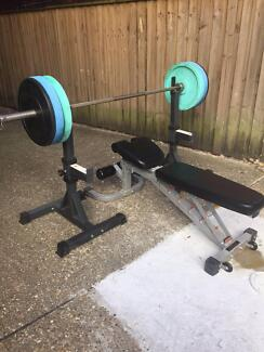Weights bench deck, weights, bar and bench