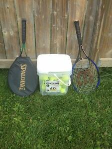 Two tennis rackets & bucket of tennis balls FOR SALE