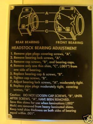 South Bend Lathe Reproduction Plates Headstock Bearing Adjustment