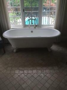 Exceptional French Antique Vanity and Chandelier and Tub
