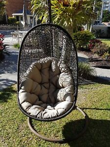 Outdoor Wicker Hanging Swing Chair - Brown Burleigh Heads Gold Coast South Preview