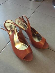 Sling back, stiletto, platform, peep toe shoe size 8.5