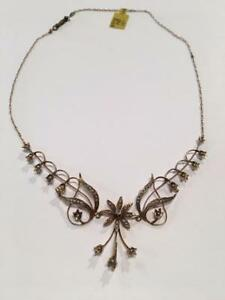 "#1148 14K 17"" Vintage Lavaliere Necklace. Seed Pearls & Diamonds!"