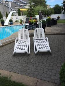 Patio lounge chaise recliners (set of 2)
