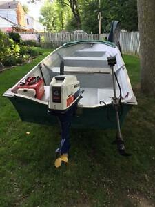 12ft Green Fibre Glass Fishing Boat with 2 Motors and Trailer