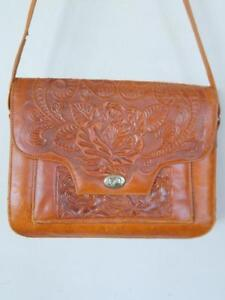 """Oakville Vintage Real Leather Tooled Purse / 11x8x4"""" / Tote Shoulder Bag / Whiskey brown Mexico"""