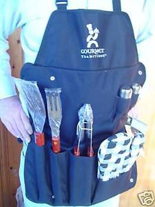 BRAND NEW BARBECUE APRON WITH TOOLS GLOVE SALT PEPPER