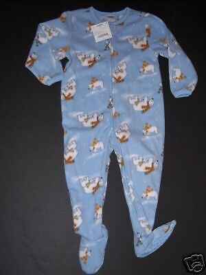 NWT Gymboree 2T Light Blue Polar Bear Fleece Footy Pajamas Gymmies ()