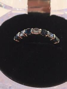 #1143 14K Diamonds & Sapphires! Size 5 3/4