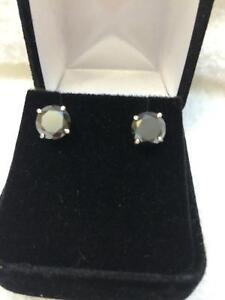3.00 TW. AAA GENUINE BLACK DIAMOND STUDS