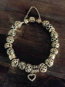Gold Pandora & Emma & Roe Bracelet with charms Brisbane City Brisbane North West Preview