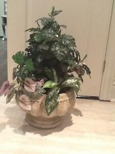Very large vase with artificial plants/rustic pot with artific