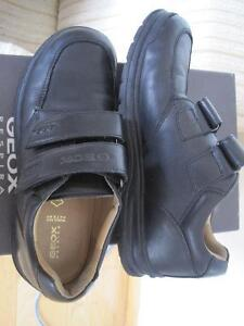 Boys Geox Black Leather Shoes, Size 37 (Size 5 US)