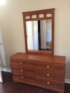 Dresser,  mirror and nightstand