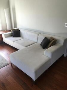 White micro-suede sectional couch
