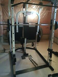 Smith Machine Power Rack Lat Tower Pec Dec Bench Weights + MORE