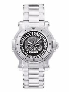 Harley-Davidson® Bulova Mens Watch, Antique Medallion Skull Dial 76A11