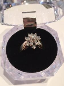 #1137 14K CLUSTER DIAMOND RING
