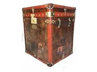 English Leather Luggage Campaign Style Handmade Travel Steamer Trunk Coffee Bed Side Table
