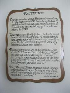 """""""FOOTSTEPS IN THE SAND"""" WALL PLAQUE ... EXCELLENT CONDITION"""