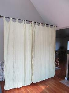 FOUR BEAUTIFUL CURTAIN PANELS WITH QUALITY ROD