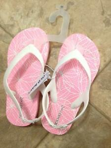 NEW!! Size 11 girls flip flops with a back strap- pink/white