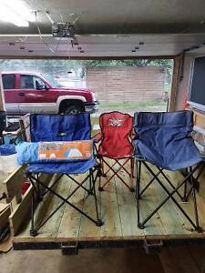 Camp chairs, Coleman stove and small tent