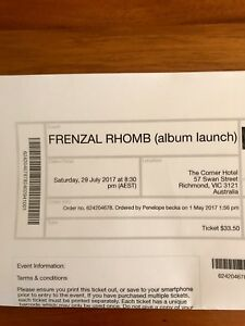 Frenzal Rhomb Tickets x 2 Cremorne Yarra Area Preview