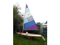 Laser 1 Sailing Dinghy with classic rig and launching trolley