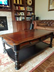 Dark brown wood coffee table & 2 matching side tables