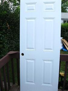 """Porte dentrée en acier préfini blanc 79""""1/2x31""""1/2"""