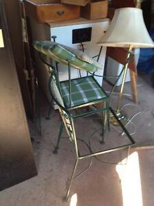 Iron Glass Kitchen Table with 3 chairs