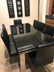 8 seater black glass dining table with chairs Stirling Stirling Area Preview