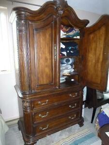 Elegant Ent. Unit/Armoire, quality, all wood, sculpturd features