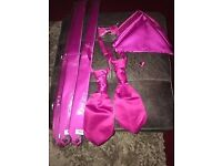 fuschia pink MENS wedding CRAVAT MENS SILKY RUCHE ,bow and