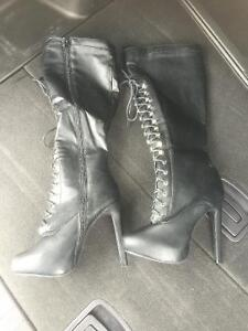 Knee High Dominatrix Style Boots Size 7