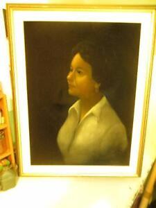 """Toronto Artist DAVID JEAN Portrait on Velvet/SIGNED(1970""""s)"""