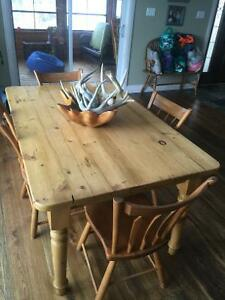 Pine harvest table with chairs and matching coffee table