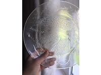 12 Clear glass dinner plates