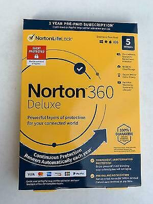 NORTON 360 DELUXE 5 DEVICES ANTIVIRUS SOFTWARE New in Sealed Box