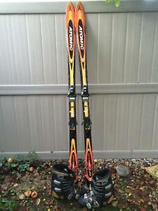 Skis and boots.