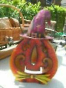 Tin Pumpkin Witch Folk Art(place candle in back)--$20.